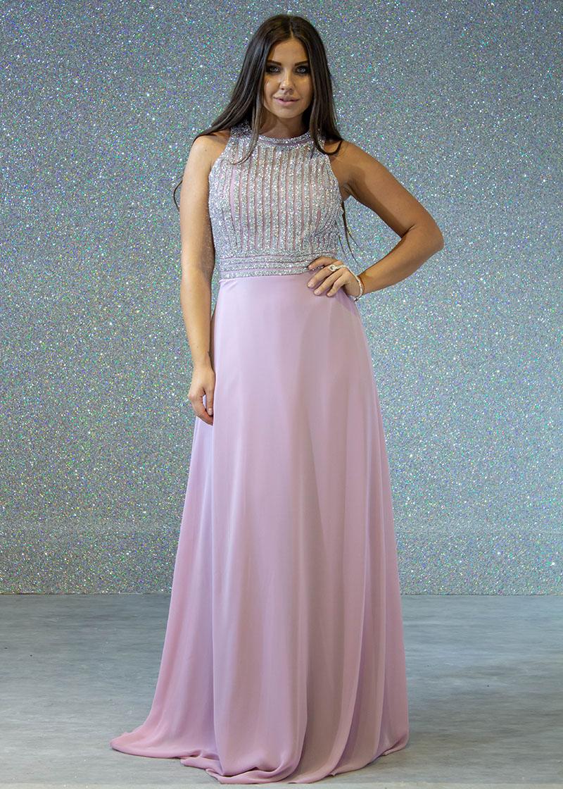 9a4d516fb فساتين السهرة: فستان سهرة طويل قماش كريب صدر ليزر رقبة طويل كتف بروتيل