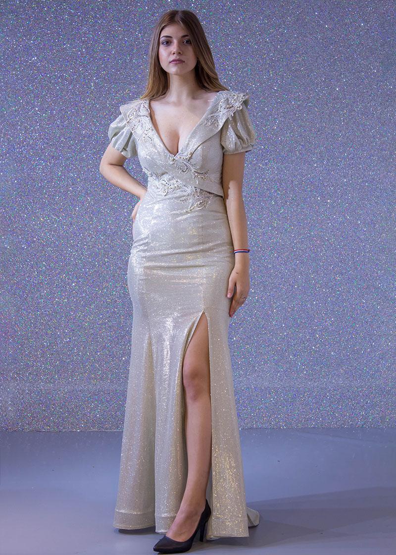 aa91732b1 فساتين السهرة: فستان سهرة طويل ديجراديه ليزر كم قصير