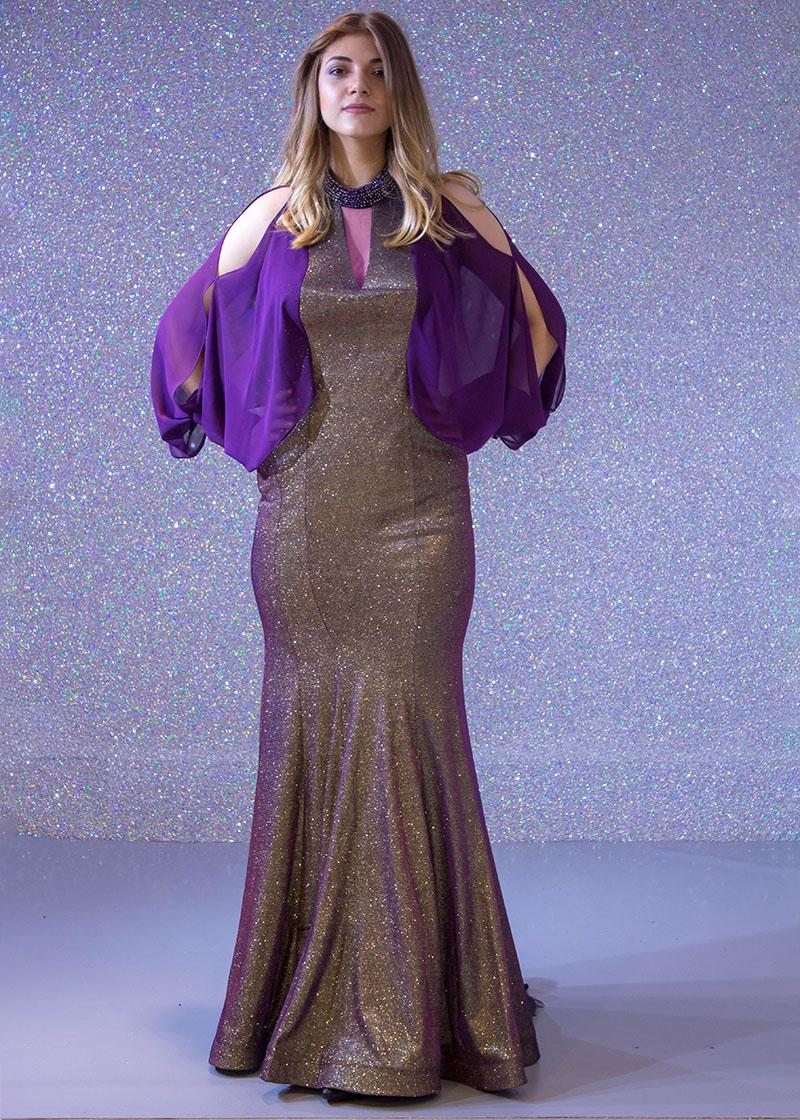 b5941ea3c فساتين السهرة: فستان سهرة طويل ديكراديه ليزر كم طويل مفتوح سبور