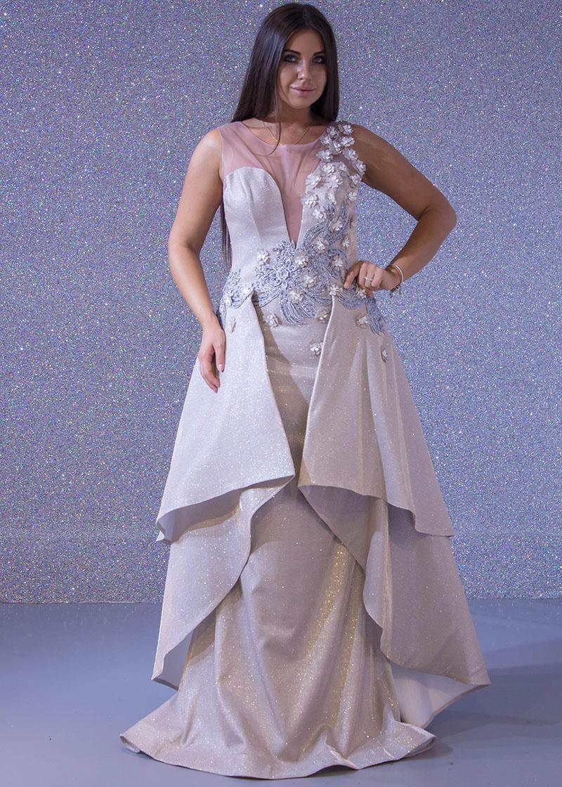 e23e3adf7 فساتين السهرة: فستان سهرة طويل ليزر كنار فراشة ورد صدر شفاف